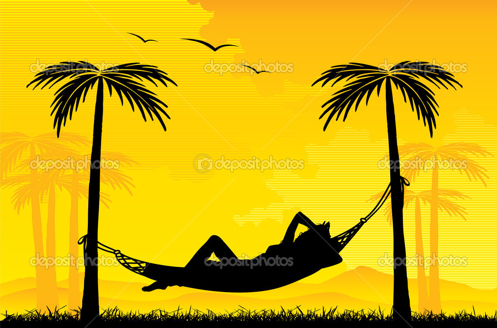 Relaxing on hammock