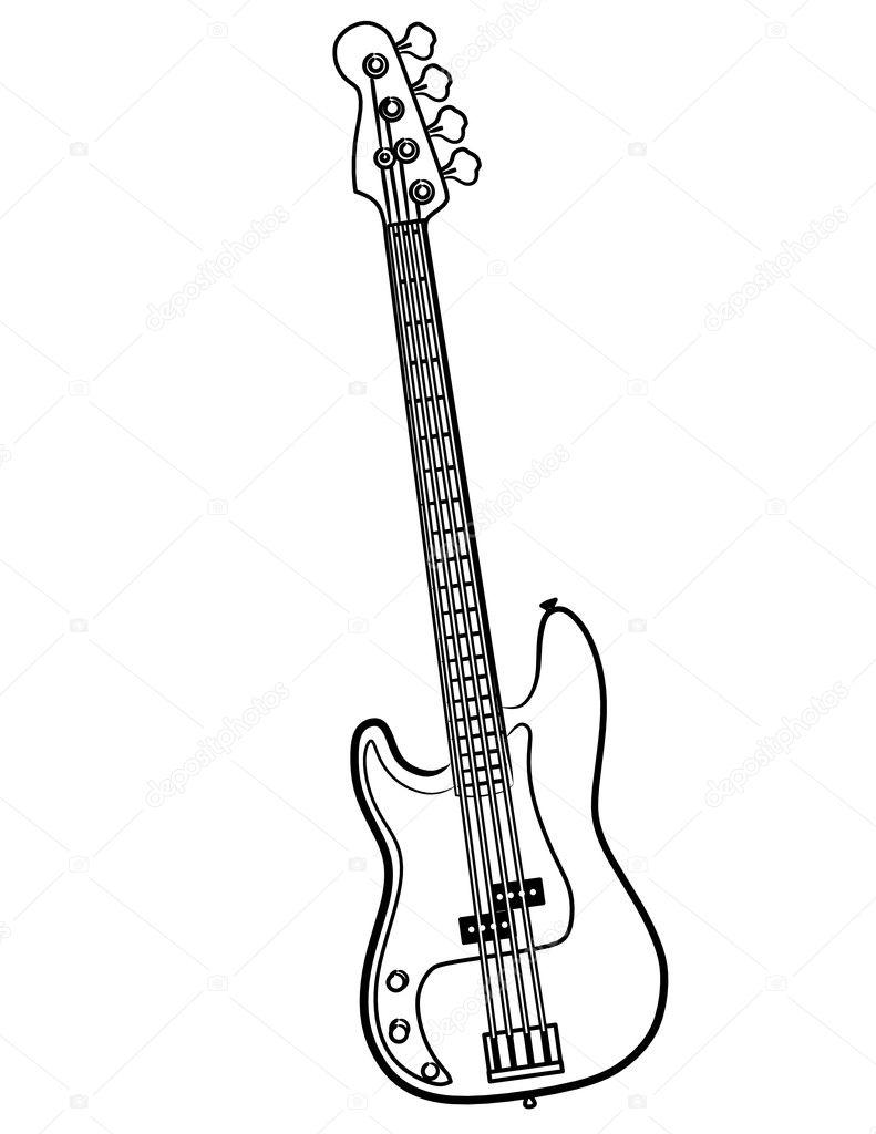 electric bass guitar line art  u2014 stock photo  u00a9 aaronrutten