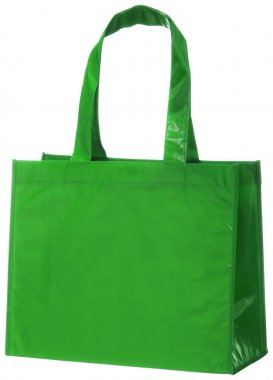 Green, reusable shopping bag isolated on white + clipping path.