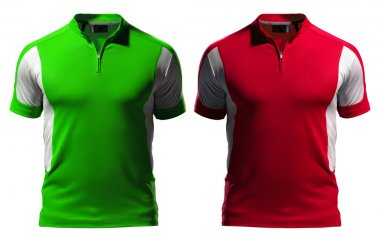Blank polo t-shirt design template (front) with zipper