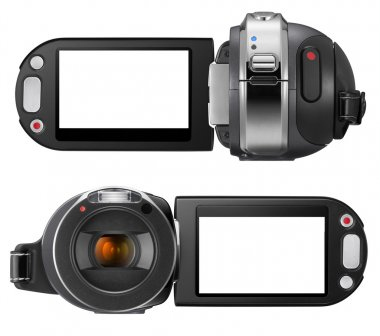 Digital camcorder with clipping path for cam outline and screen.