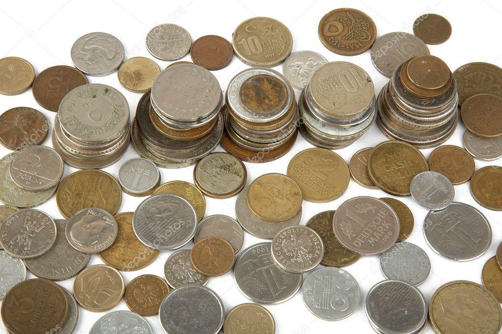 Alte Münzen Verschiedener Länder Stockfoto Scratch 3561052