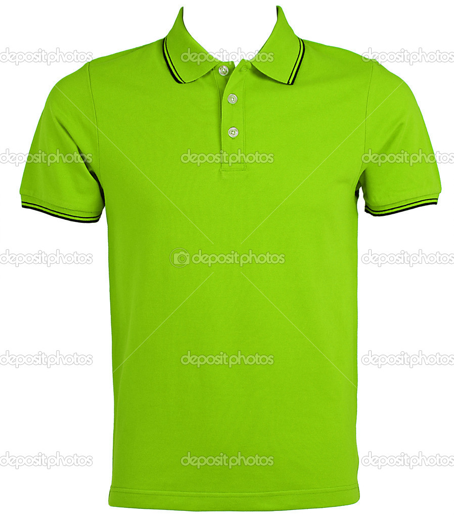 Blank of Green T-Shirts Front with Clipping Path.