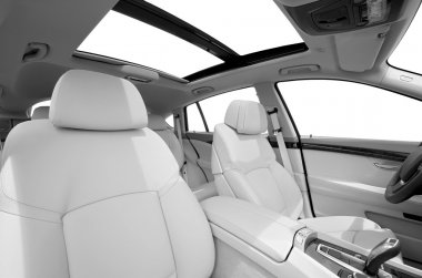 Seats and panarama window in modern white sport car, back view