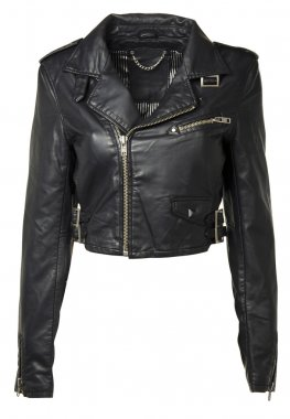 Luxuru Black Leather jacket isolated on white + clipping path