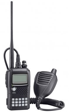 Black walkie talkie on white background. Police portable radio s