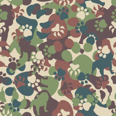 Seamless Dog Camouflage Pattern