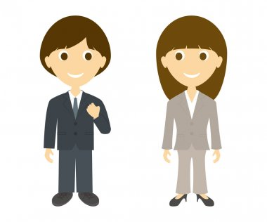 Cartoon business man and women