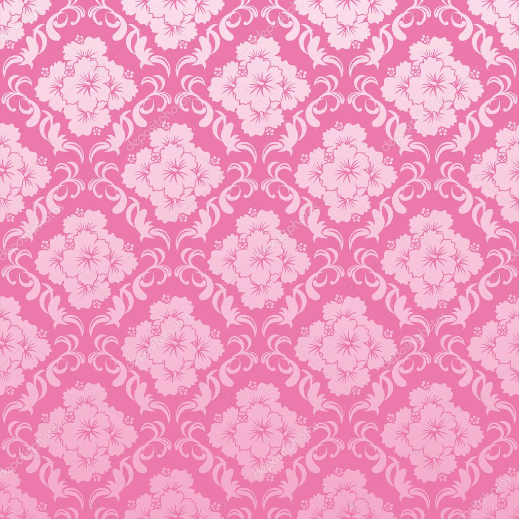 Abstract seamless hibiscus pattern