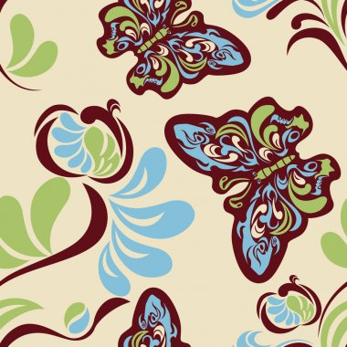 Seamless flower and butterfly pattern