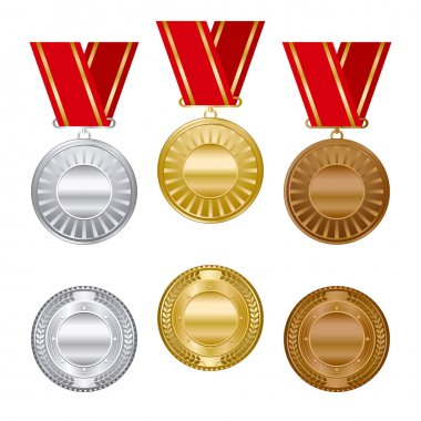 Gold silver and bronze award medals set.