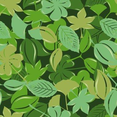 Seamless green leaf pattern