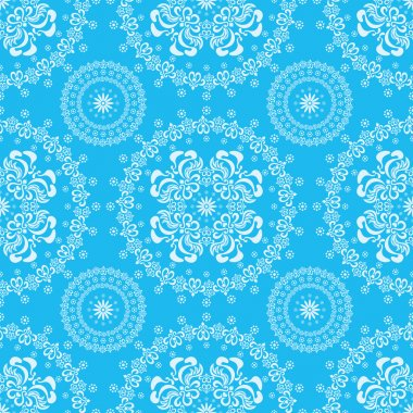 Abstract seamless floral blue background
