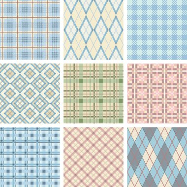 Seamless Check Pattern Set.