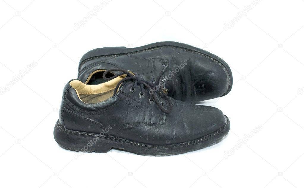 Werkschoenen Met Witte Zool.Zwarte Werkschoenen Stockfoto C Sorsillo 3093180
