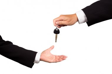 Car key from salesman