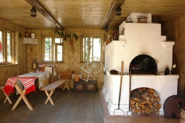 Interior of russian house with tradition