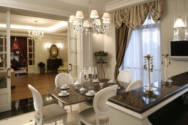 Interior of a dinning room in white colo