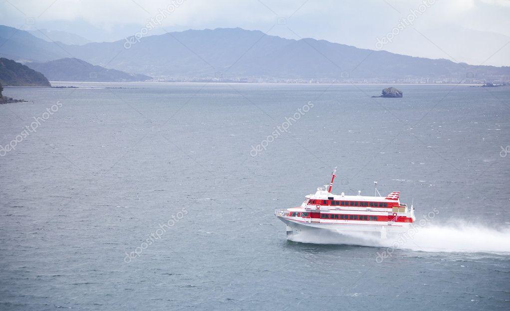 Speedboat cruising in the sea