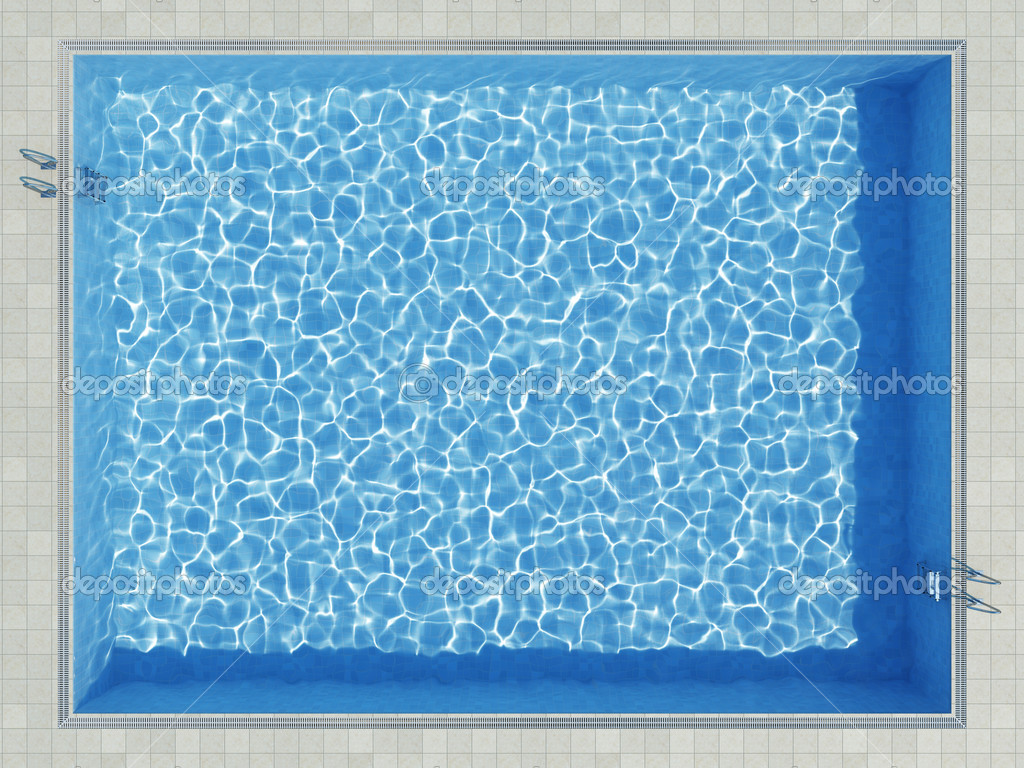 Blue Water Pool Surface Top View Stock Photo