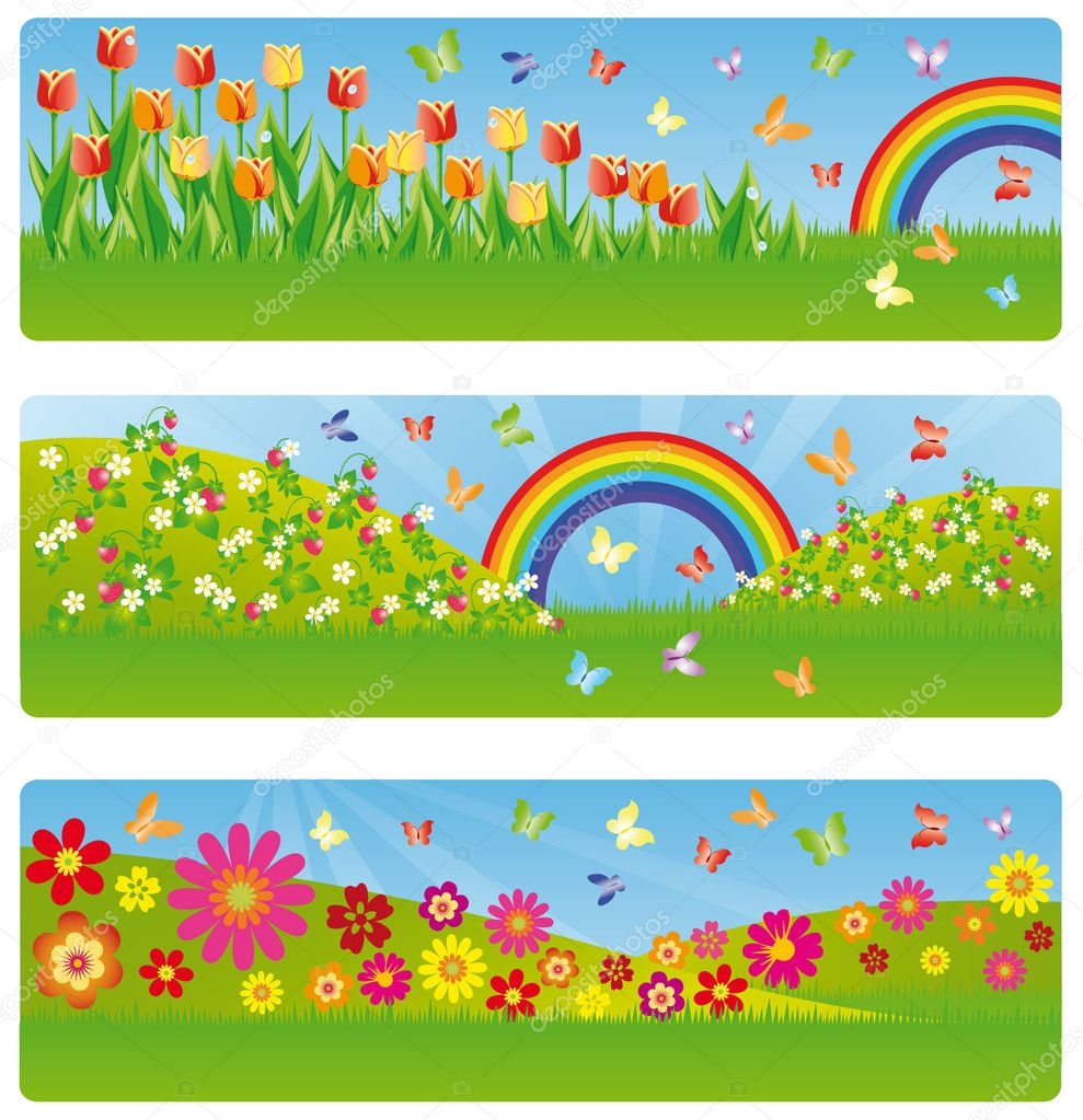 Spring banner, vector