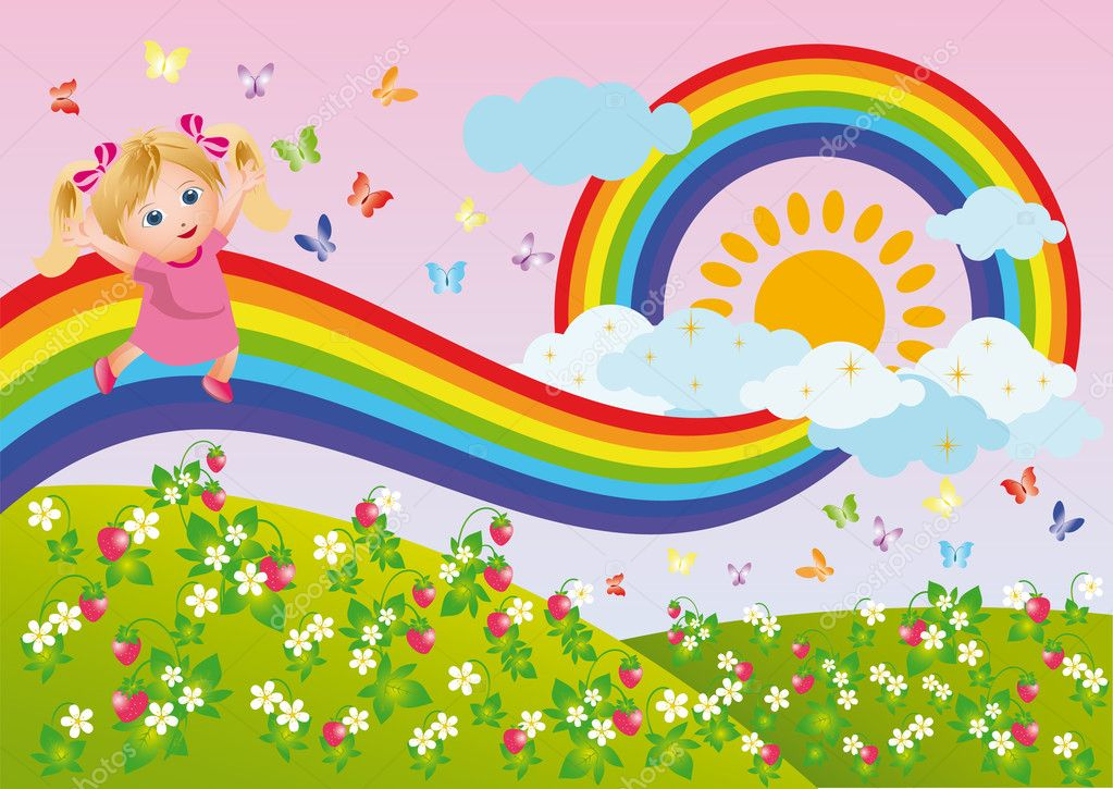 The girl runs on a rainbow. vector