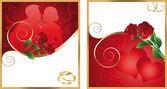 Fotografia due biglietti dinvito per il matrimonio, vettoriale