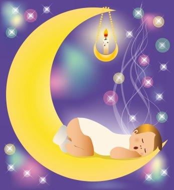 The baby sleeps on the moon. vector