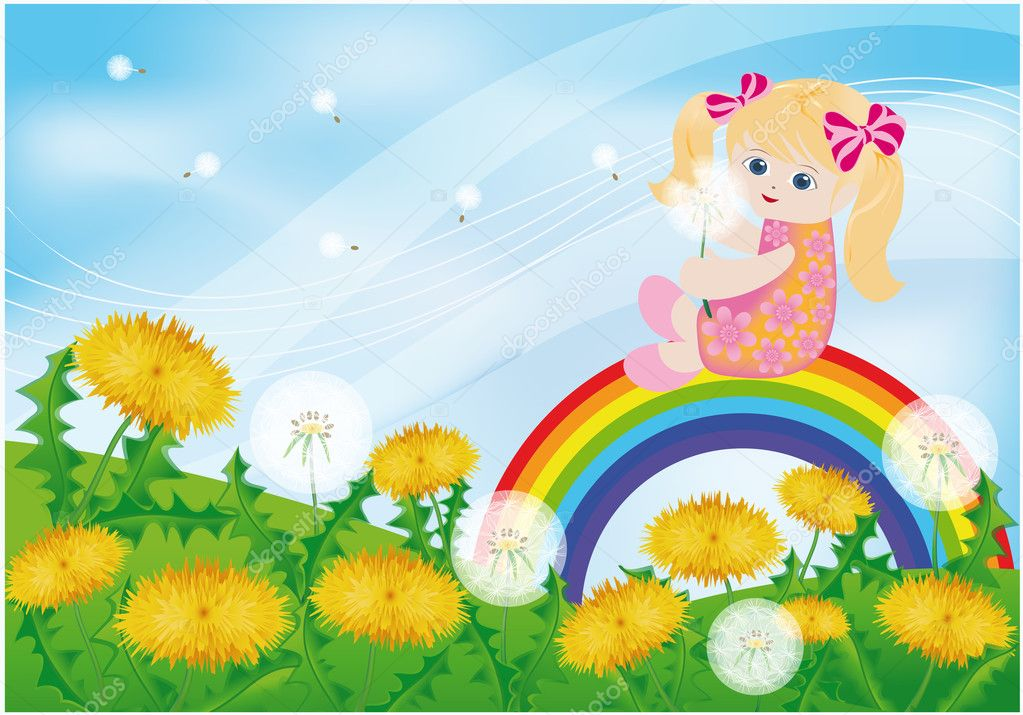 Spring card, girl and dandelions. vector