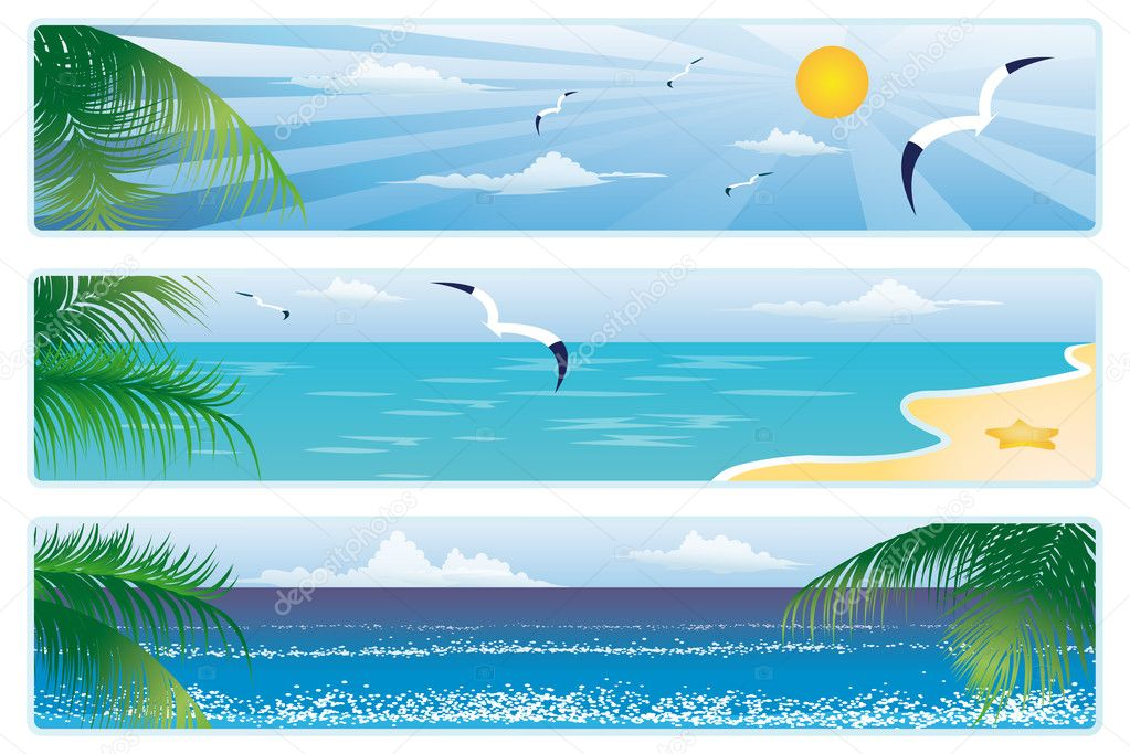 Summer banner with palm trees. vector