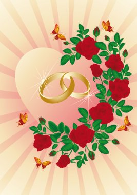 Wedding card with golden rings, vector