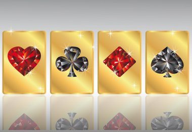 Gold poker cards, vector