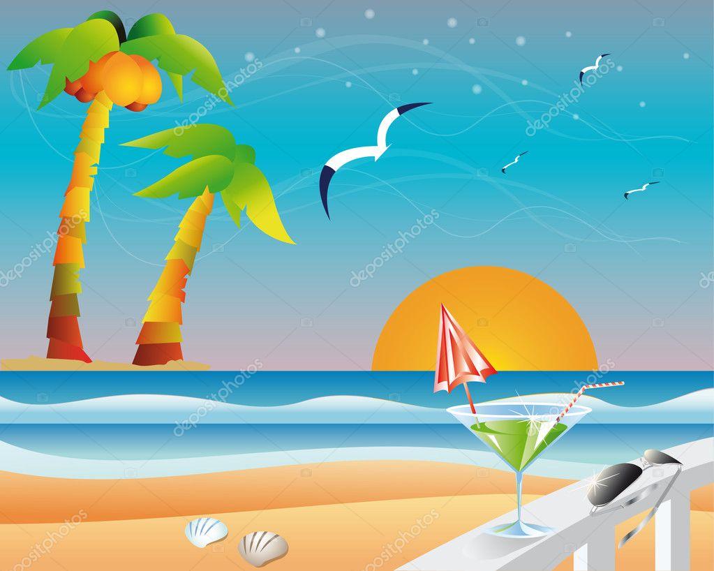 Travel summer card, vector