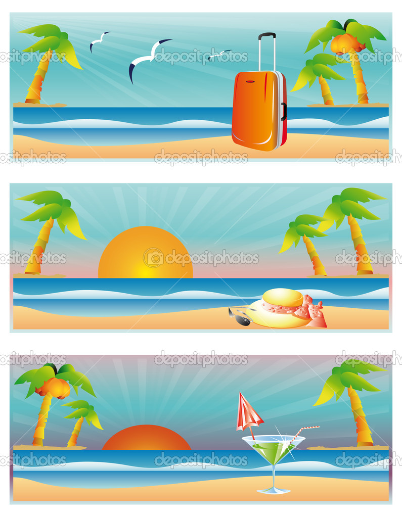 Travel summer banners, vector