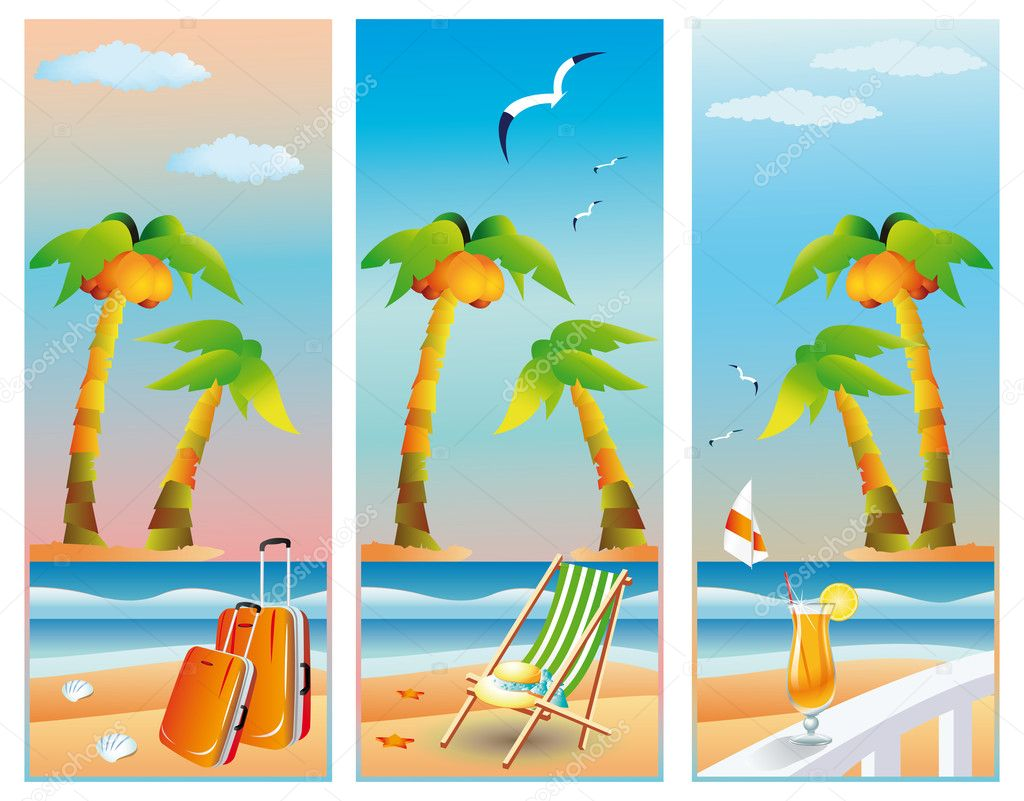 Summer travel banners, vector