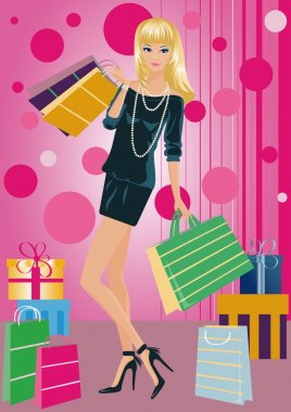 Shopping fashion girl with bags , vector