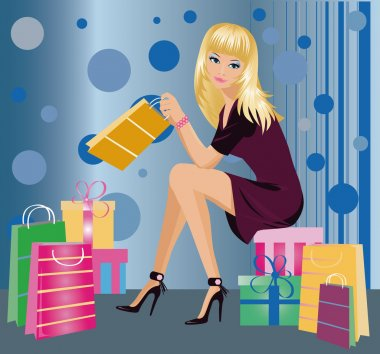 Shopping fashion girl , vector