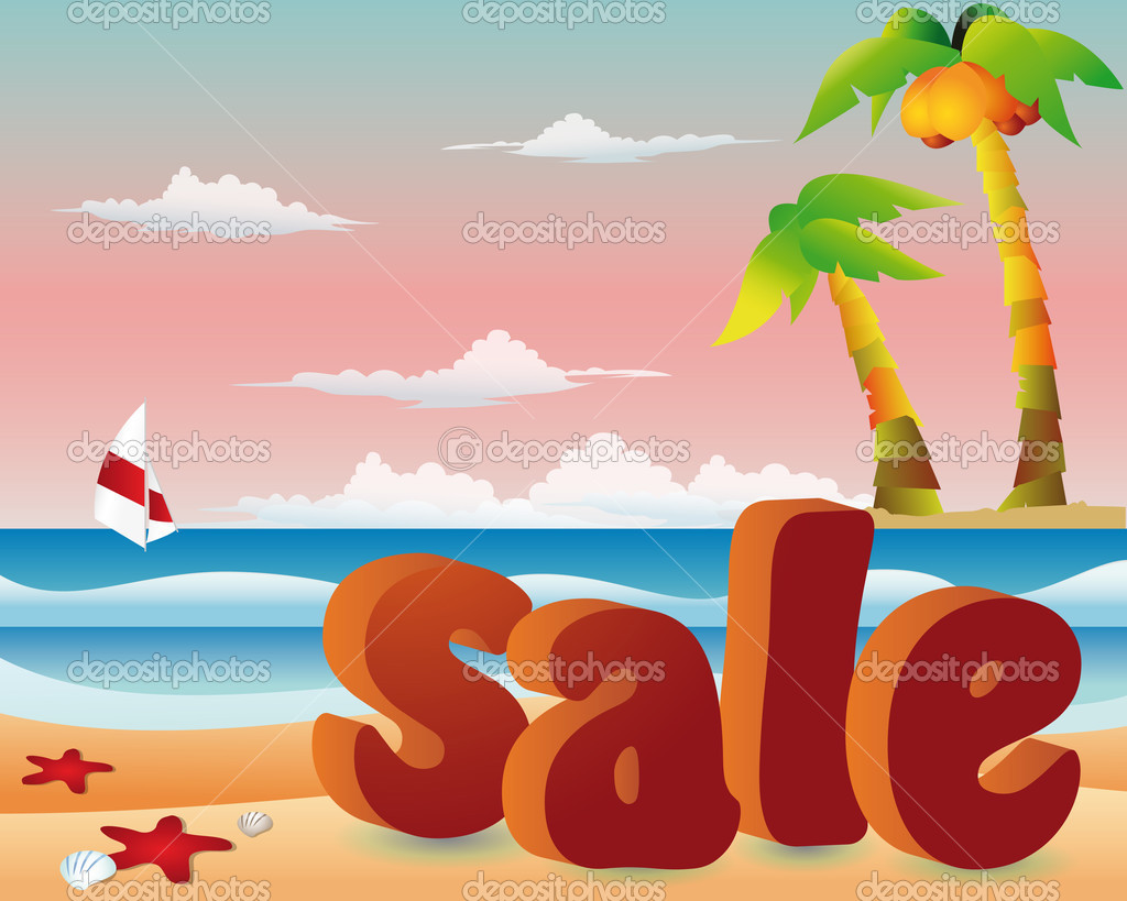 Beach sale with yacht in 3d image. vector