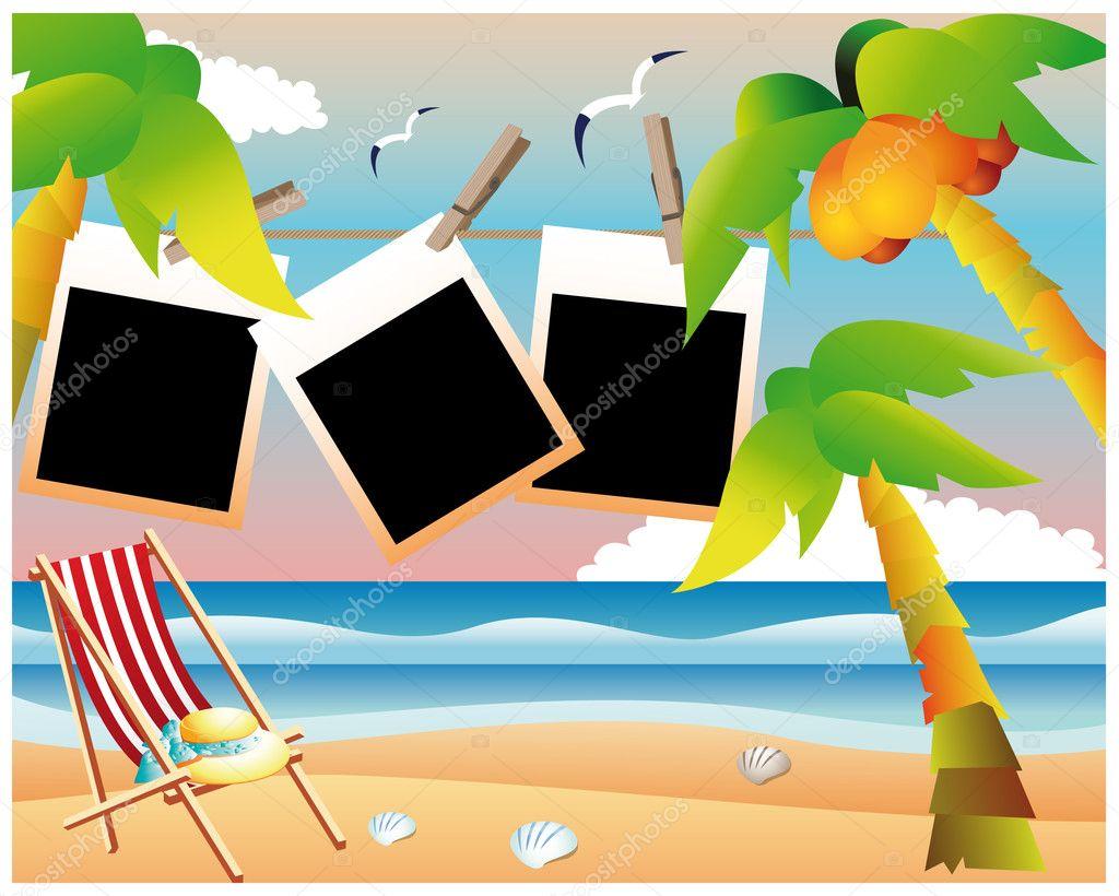 Beach card with photo frame, vector