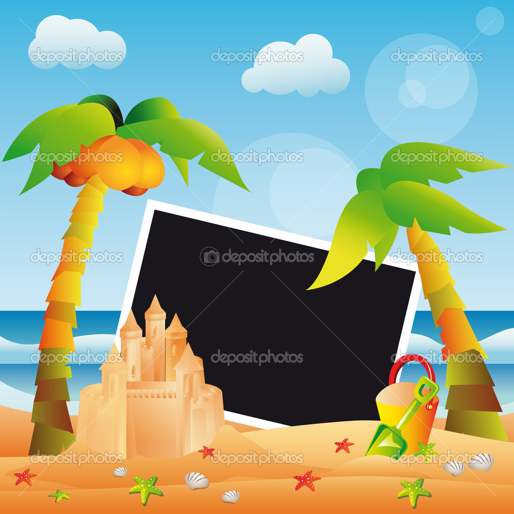Scrapbooking summer card, vector
