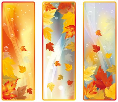 Set Vertical Autumn banners, vector