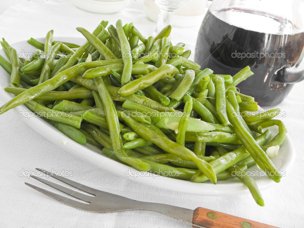 Green Beans Salad with fork at Dinner.