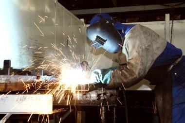Labourer arc welding