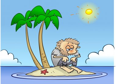 Shipwrecked guy on desert island