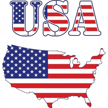 USA map and text Flag