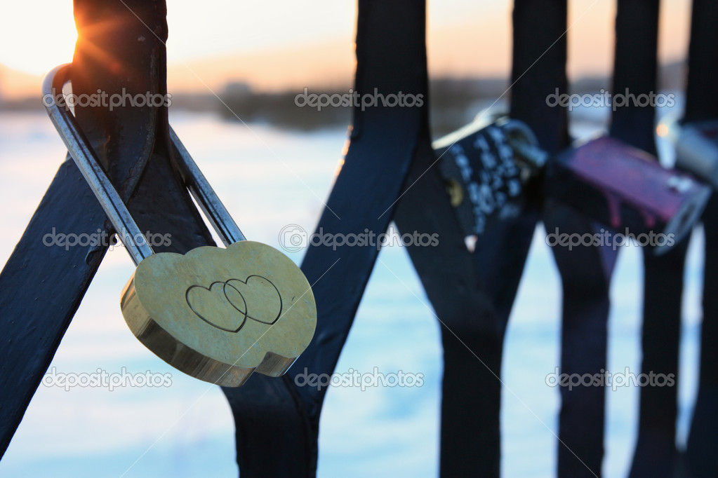 Padlock in the form of two hearts
