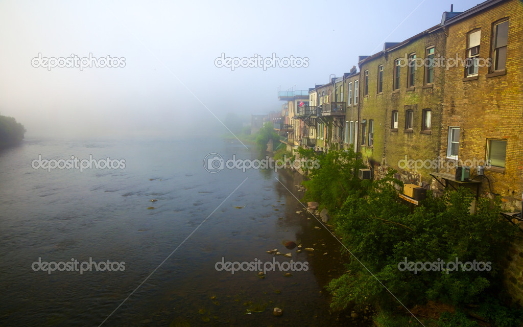 Grand River Flow >> The Lazy Grand River In Morning Mist Stock Photo