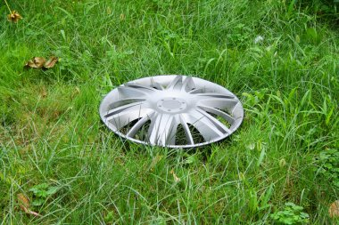 View of lost hubcap on the grass