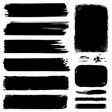 Set of ink banners & brushes clip art vector