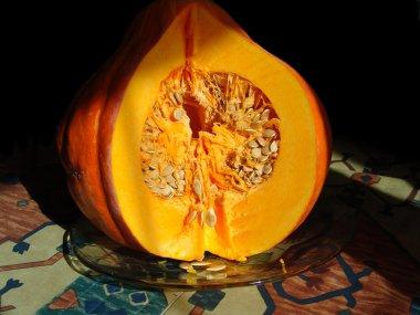 Bright pumpkin on a plate